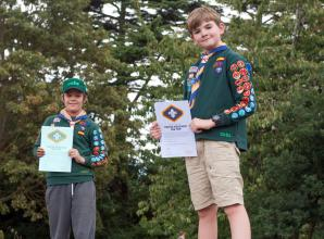 1st Burnham and Hitcham Scouts award two cubs Chief Scout's Silver Award